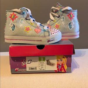 Toddler girl sketcher light up sneakers